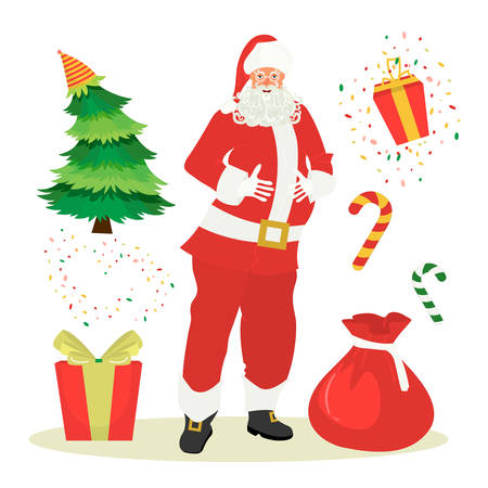 Christmas set. Santa Claus with a gifts. A happy smiling Santa Claus in cartoon style with santa claus bag. Vector illustration on white background in cartoon style