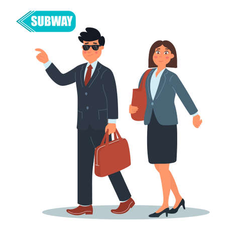 Business cooperation. Business concept. Two people - businessman and a business lady discussing business ideas on the way to a subway. Vector illustration of a flat design Ilustração