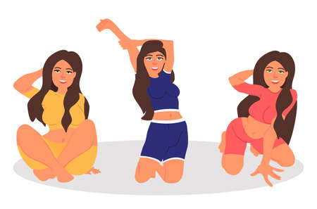 Set of sexy young women in different poses. Vector illustration on white background in cartoon style