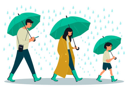 Young people character walking with umbrellas under a rain. Vector illustration on white background in cartoon style
