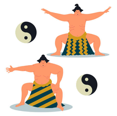 Set of two sumo character. Sumo sportsmans. Sumo wrestler design. Vector illustration on white background in cartoon style Ilustração