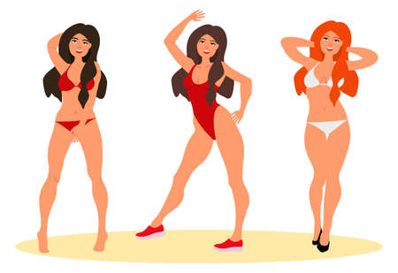 Set of beautiful young girls in swimsuit. Vector illustration on white background in cartoon style
