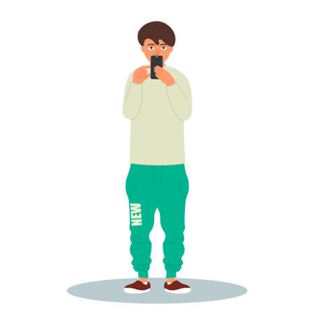 Young stylish man taking a photo with his smartphone.Vector illustration on white background in cartoon style 向量圖像