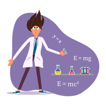 Young scientist experimenting in science chemistry laboratory.Vector Illustration