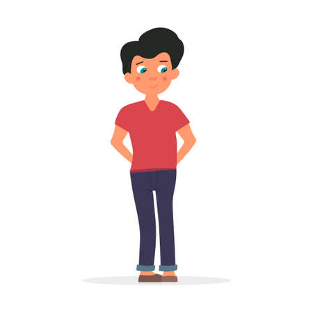 Young shy and timid boy. Vector illustration Vetores