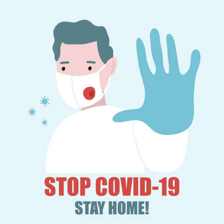 Doctor in medical mask put his hand forward, stop gesture.Stop COVID-19. Coronavirus outbreak. Vector illustration. 向量圖像