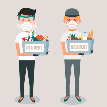 Delivery service workers during prevention of coronavirus, Covid-19. Couriers in a face mask with box in his hands. Vector illustration of delivery.