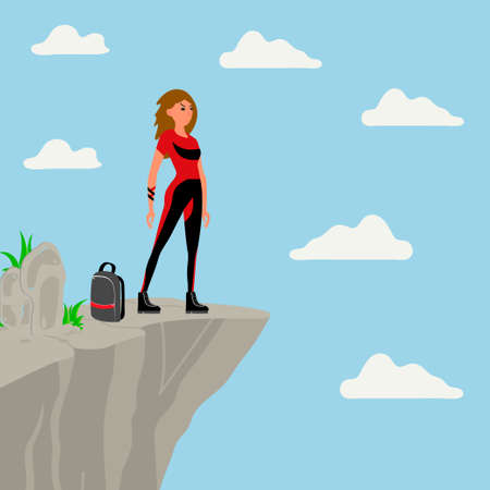 Courage young girl standing on the edge of the rock and looking into the distance. Flat vector illustration Vettoriali