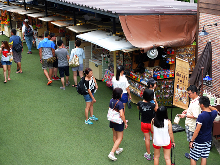 lodging: HUAHINJune 14: Unidentified people visit Plearnwan ancient buildings on June 14 2015 in Huahin Thailand. Here famous for tourist is the retro place for shopping lodging and sightseeing.