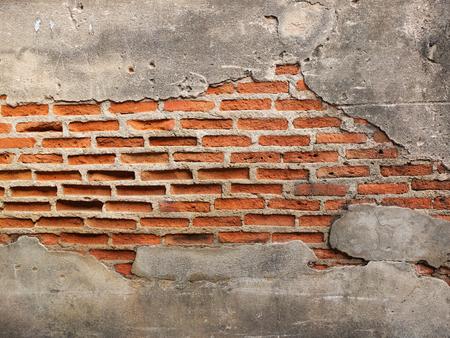pared rota: vieja pared de ladrillo del grunge con el espacio para el texto, la textura de fondo Foto de archivo