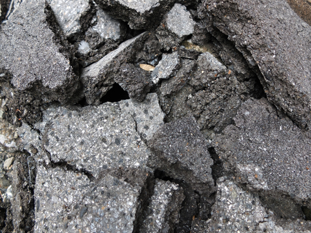 road surface: Pile of broken asphalt in the street surface Stock Photo