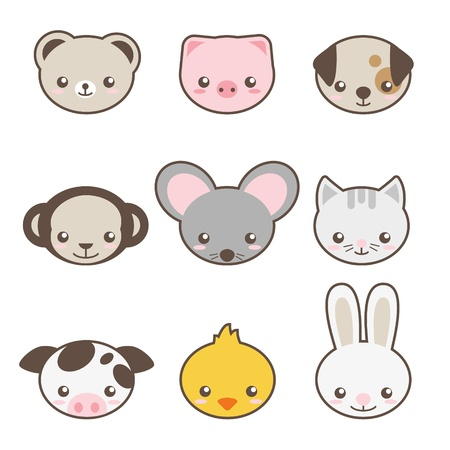 Set of animals faces Vector