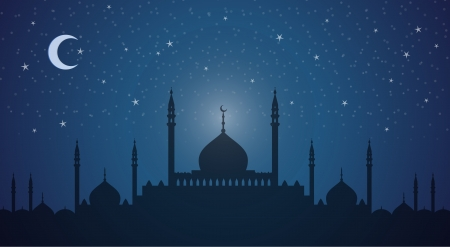 Minarets and domes at night