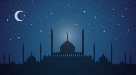Minarets and domes at night Vector