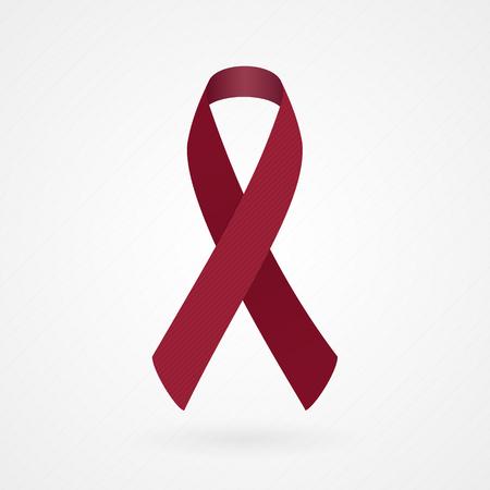 Burgundy awareness ribbon