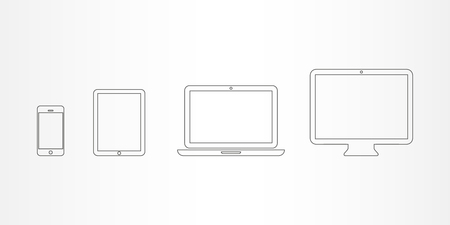 Device Icons  smartphone, tablet, laptop and desktop computer
