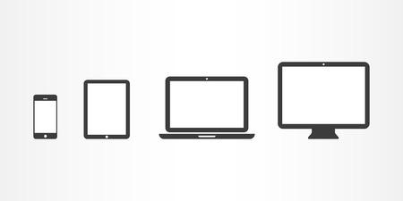 Iconos de dispositivos smartphone, tableta, ordenador portátil y ordenador de sobremesa