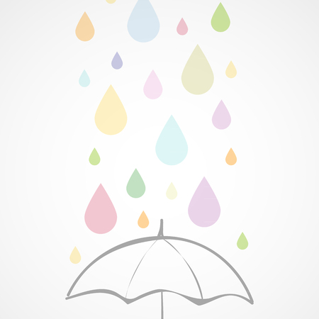 Colorful rain and umbrella Vector