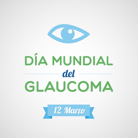 ocular diseases: World Glaucoma Day in Spanish Illustration