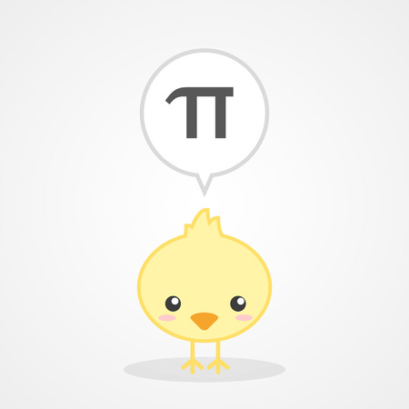 diameter: Chick and Number Pi Illustration