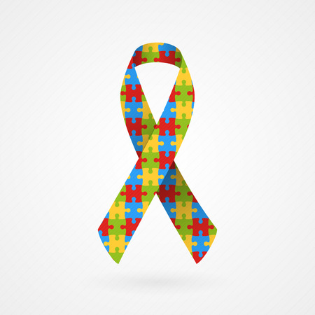 Puzzle awareness ribbon  Autism  Vector