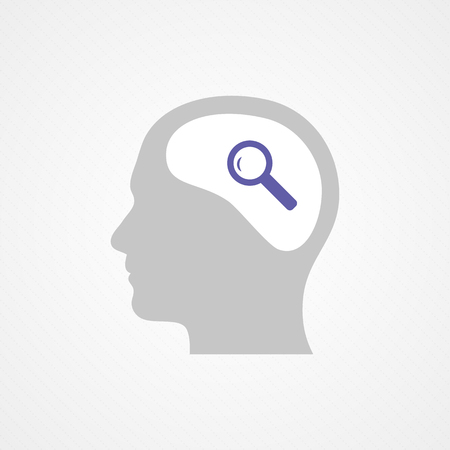 Head and magnifying glass Vector