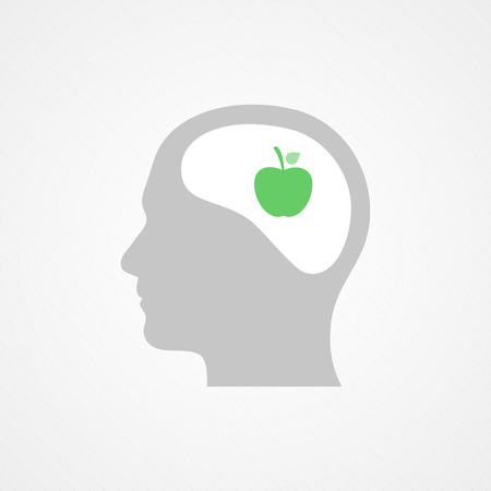 Head and apple Vector