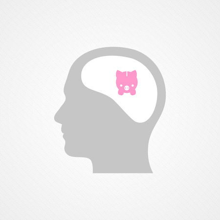 Head and piggy Vector