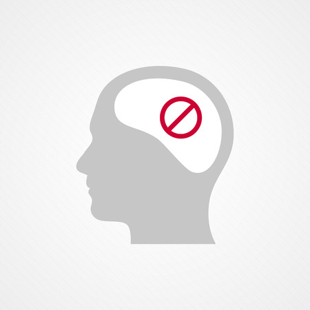 Head and forbidden icon Vector