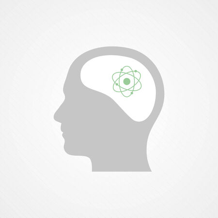 Head and atom icon Vector