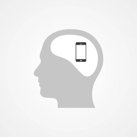 Head and smartphone Vector