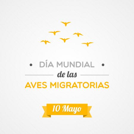 migratory: World Migratory Bird Day in Spanish Illustration