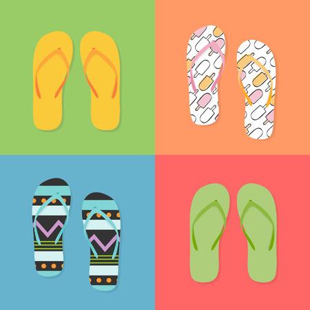 Colorful flip flops Vector