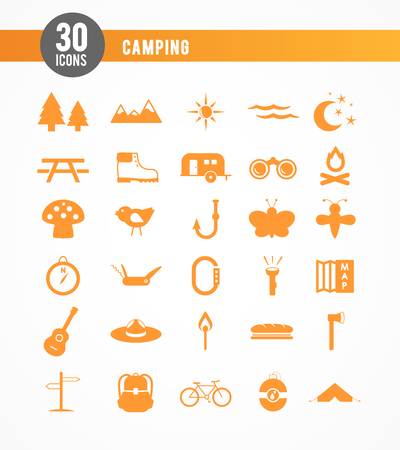 30 camping icons  orange Vector