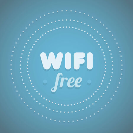 Free wifi symbol with blue background