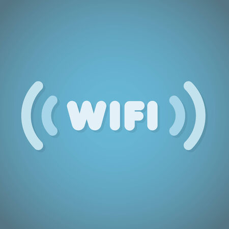 wi fi icon: Blue wifi sign Illustration
