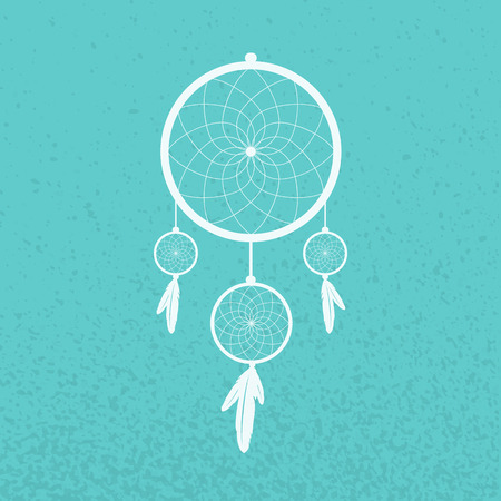 Dreamcatcher on turquoise background Vector
