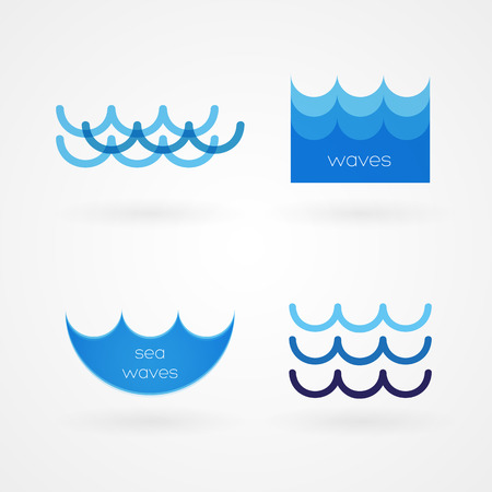 abstract waves background: Set  sea waves icons