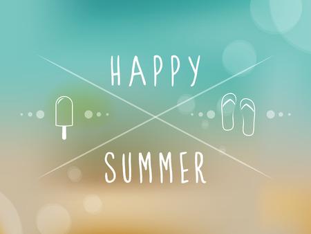 happy summer: Happy summer  Blurred background