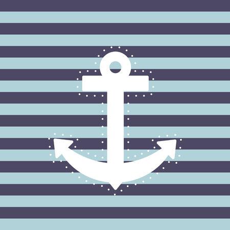 ancre marine: Ancre rayé blanc fond