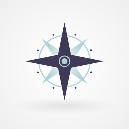 puntos cardinales: Azul mínima ilustración brújula concepto