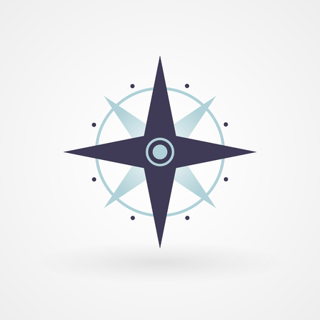 compass rose: Blue minimal compass illustration concept  Illustration