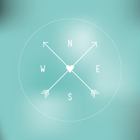 Minimal wind rose  Blurred background Vector