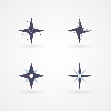 puntos cardinales: Viento Establecer subió 03 Ilustración del concepto