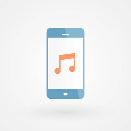 musical note: Smartphone and musical note Illustration