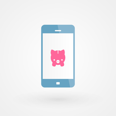 Smartphone and piggy Stock Vector - 29727631