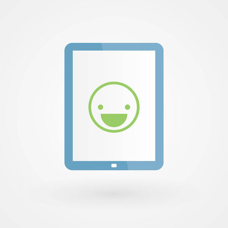 Tablet and happy smiley Vector