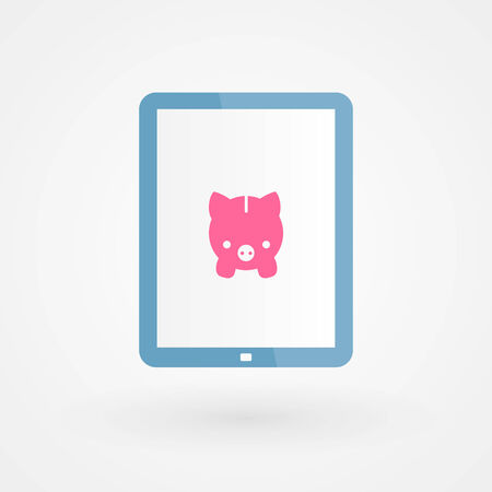 Tablet and piggy Vector