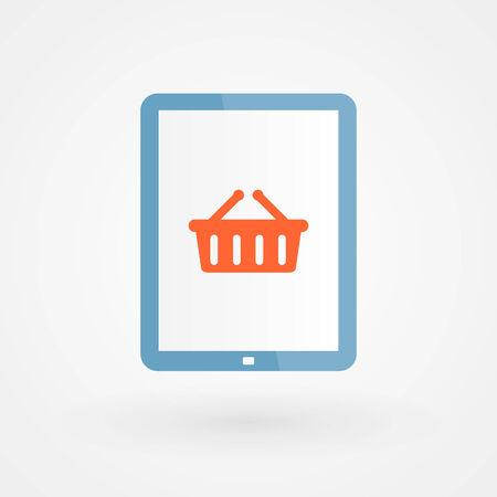 shopping basket: Tablet and shopping basket Illustration