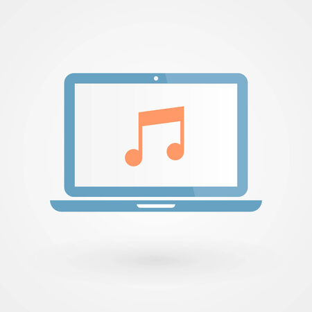 musical note: Laptop and musical note Illustration